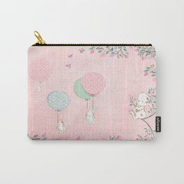 Cute flying Bunny with Balloon and Flower Rabbit Animal on pink floral background Carry-All Pouch