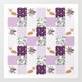 Corgi Patchwork Print - purple ,florals , floral, spring, girls feminine corgi dog Art Print
