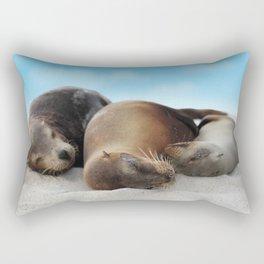 Sea lions family sleeping together on beach Rectangular Pillow