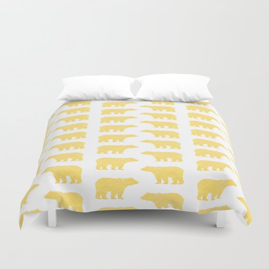Gold Bears - foil glitter sparkle gold pattern print bear golf golfing nature trendy hipster sports Duvet Cover