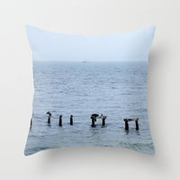 cape cod Throw Pillows featuring Gull's Perch, Cape Cod by JezRebelle