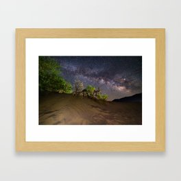 Milky Way over Death Valley Sand Dunes Framed Art Print