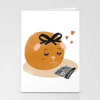 guinea pig Stationery Cards featuring Guinea Pig Portrait 1 by Nadia Keifens