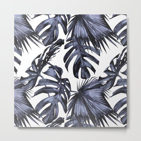 Classic Palm Leaves Navy Blue Metal Print