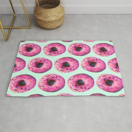 girly cute mint pink donut pattern Rug