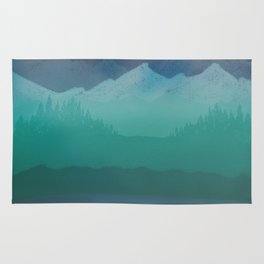 Ombre Mountainscape (Blue, Aqua) Rug