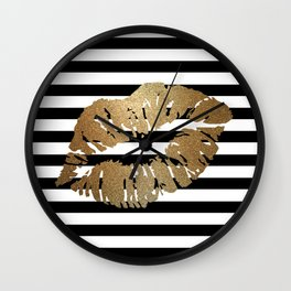 Gold Lips 2 Wall Clock