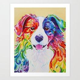 Rainbow Border Collie - Toby Art Print