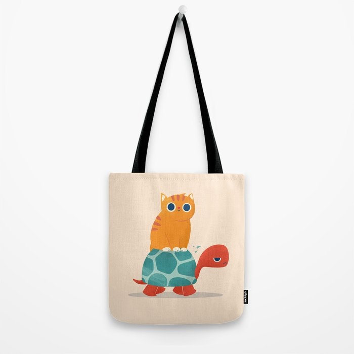 Fat Cat Rides a Turtle Tote Bag