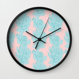 Cute Coiled Leaf Bunch Pattern Wall Clock
