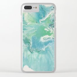 Breathe Blue Abstract Print Clear iPhone Case
