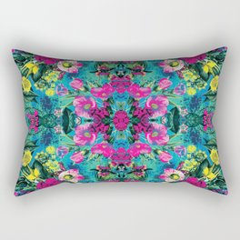 Neon Floral Rectangular Pillow
