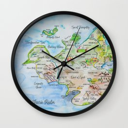 Map of the Faerie Realm Wall Clock