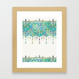 Art Deco Double Drop in Jade and Aquamarine on Cream Framed Art Print