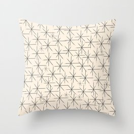 Stella - Atomic Age Mid Century Modern Starburst Pattern in Charcoal Gray and Almond Cream Throw Pillow
