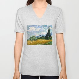 Wheat Field with Cypresses - Vincent van Gogh Unisex V-Neck