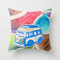 vw bus Throw Pillows featuring VW Bus Campervan by Carrie at Dendryad Art