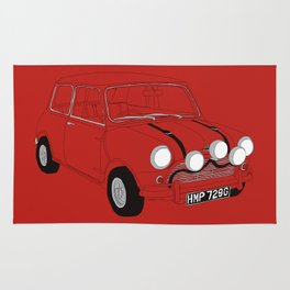 The Italian Job Red Mini Cooper Rug