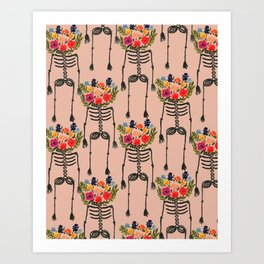 Skeleton and Flowers. Art Print