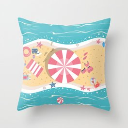 Happy Summer Vacation Throw Pillow