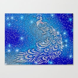 Sparkling Blue & White Peacock Canvas Print