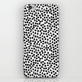 Black and white minimal linocut pattern graphic scandi design iPhone Skin