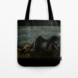 Three women in a field Tote Bag