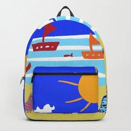 Naive Beach - Blue & Gold  Backpack