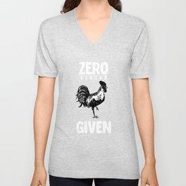 Funny Zero Clucks Rooster Unisex V-Neck
