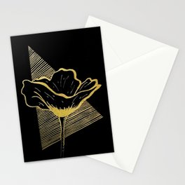 Black and Gold Poppy Flower over line triangle Stationery Cards