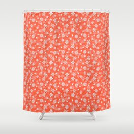 Festive Living Coral Orange Pink and White Christmas Holiday Snowflakes Shower Curtain