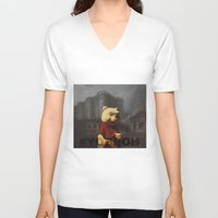 bastille V-neck T-shirts featuring Winnie & Bastille by consequence