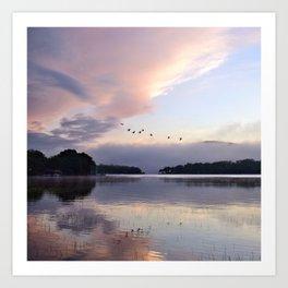 Uplifting: Geese Rise at Dawn on Lake George Art Print