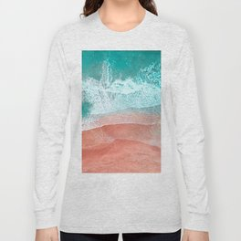 The Break - Turquoise Sea Pastel Pink Beach II Long Sleeve T-shirt