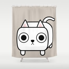 Cat Loaf - White Kitty Shower Curtain
