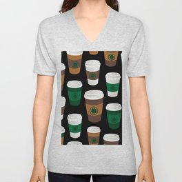 Hot Coffee Cup Party in Black Unisex V-Neck