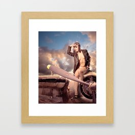 """""""Captain Felix"""" - The Playful Pinup - Bomber Jacket Pin-up Girl by Maxwell H. Johnson Framed Art Print"""