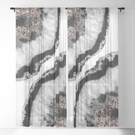 Gray Black White Agate Glitter Glamor #4 #gem #decor #art #society6 Sheer Curtain