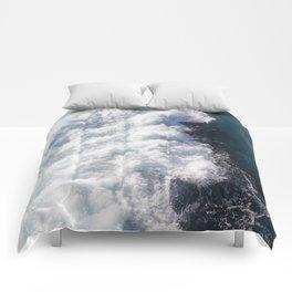 sea - midnight blue wave Comforters