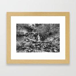 Beacons Waterfall in Monochrome Framed Art Print