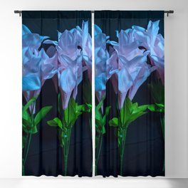 pink and blue flowers on black Blackout Curtain