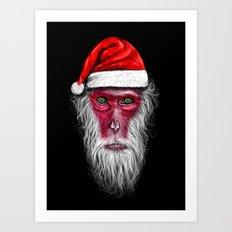 Santa Monkey Art Print