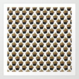 Black gold abstract modern sweet cupcake pattern Art Print