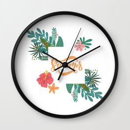 Summer In Floral Frame Wall Clock