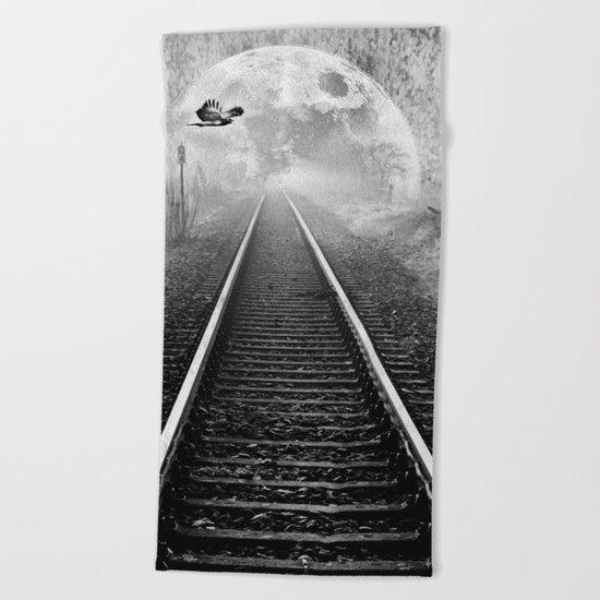 Railway to the moon in b&w Beach Towel