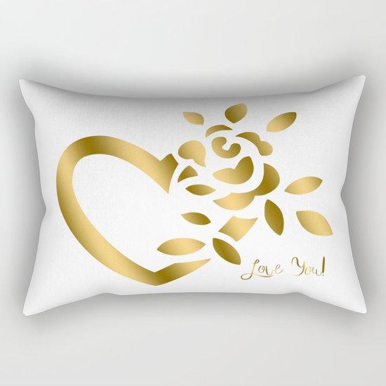 Gold Valentine Heart and Rose Rectangular Pillow