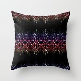 Red, blue glitter on black. Throw Pillow
