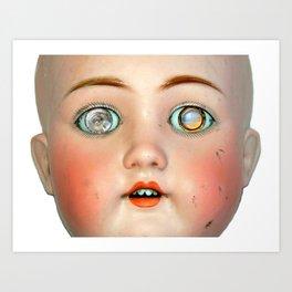 Mad-Eyed Mentalembellisher Victorian Porcelain Doll Art Print