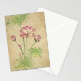 Lotus flower vintage Stationery Cards