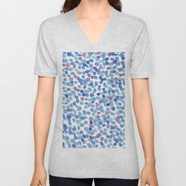 Blue and Purple Watercolor Drops Unisex V-Neck